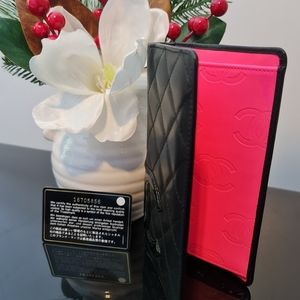 HOT Pink & Black CC Leather Authentic Chanel Bi Fold Wallet